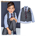 2016 New Arrival Boys European Style Gentleman Formal Suits Kids Shirt+Vest+Pants+Tie Boys Long Sleeves School Uniforms , LC740