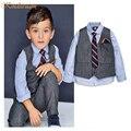 2016 New Arrival Meninos Estilo Europeu Ternos Formais Cavalheiro Crianças Shirt + Colete + Calça + Gravata Meninos Mangas Compridas Uniformes escolares, LC740