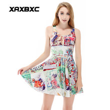 XAXBXC 1188 Summer Sexy Girl font b Dress b font Comics Party Alice in Wonderland Prints