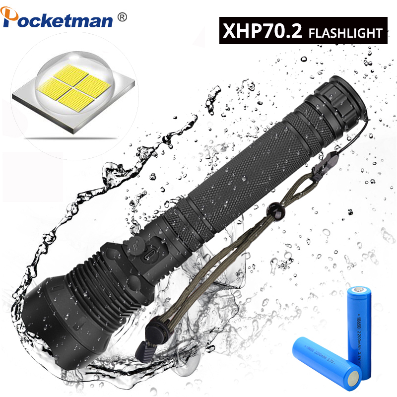 XHP70 50W 55000LM LED Flashlight Torch USB Rechargeable Flashlights zoomable Tactical defense flashligh For Camping huntingXHP70 50W 55000LM LED Flashlight Torch USB Rechargeable Flashlights zoomable Tactical defense flashligh For Camping hunting