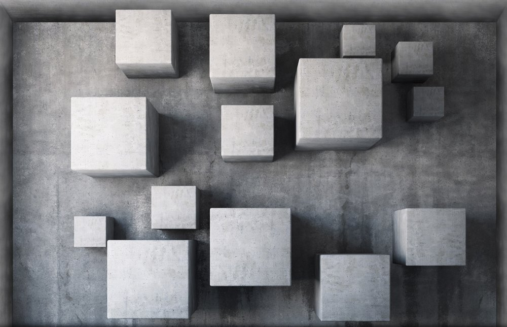 Gray Cubes 3D Peel And Stick Waterproof Non Slip PVC