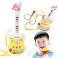 Brinquedo Guitarra Eletrônica Música com Microfone Instrumento Musical Educacional Toy Kid Presente Educação