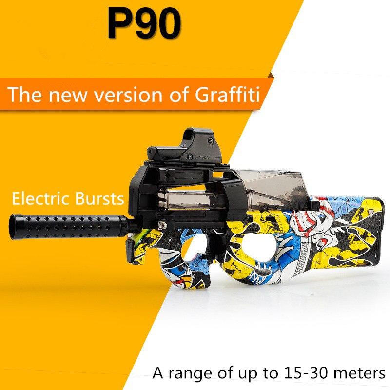 P90 Graffiti edición eléctrica de juguete pistola de agua bala ráfagas arma En directo/Live CS asalto Snipe arma al aire libre pistola Juguetes