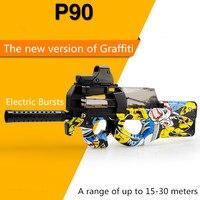 P90 Graffiti Edition Electric Toy GUN Water Bullet Bursts Gun Live CS Assault Snipe Weapon Outdoor Pistol Toys