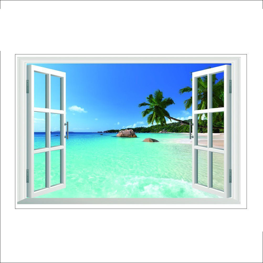 Creative Wall Decal 3d False Window Beach Sea Background Removable