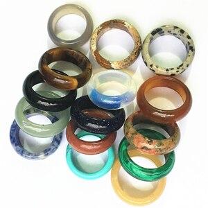 Image 3 - Nova qualidade superior quente onyx opal tiger eye moda mix cor natural pedra bandas de casamento anéis lote para mulheres 10 pçs 8mm 18 #20 #