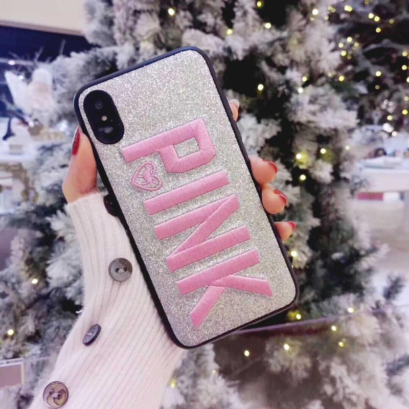 Вышивка розовый Виктория Розовый Блестящий сверкающий мягкий чехол для телефона для samsung S8 S9 Plus Note8 Note9 для iphone XS MAX 6 7 8 Secret
