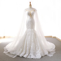 2018 New Luxury Wedding Dresses With Cape Sexy Transparent O Neck Lace Beaded Tulle Bridal Dresses Wedding Gown Custom Made