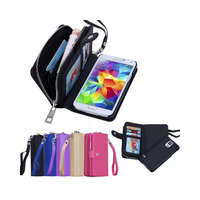 1x Luxury Zipper Wallet Leather Case For Samsung Galaxy S5 G900F G900M G900I G900T Rubber Case