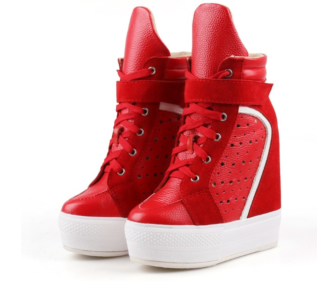 Women Sneakers Casual Platform Trainers Genuine Leather Shoes 14CM Heels Autumn Wedges Breathable Woman Height Increasing Shoes new fashion women height increasing summer breathable waterproof wedges sneakers platform shoes woman pu leather casual shoe