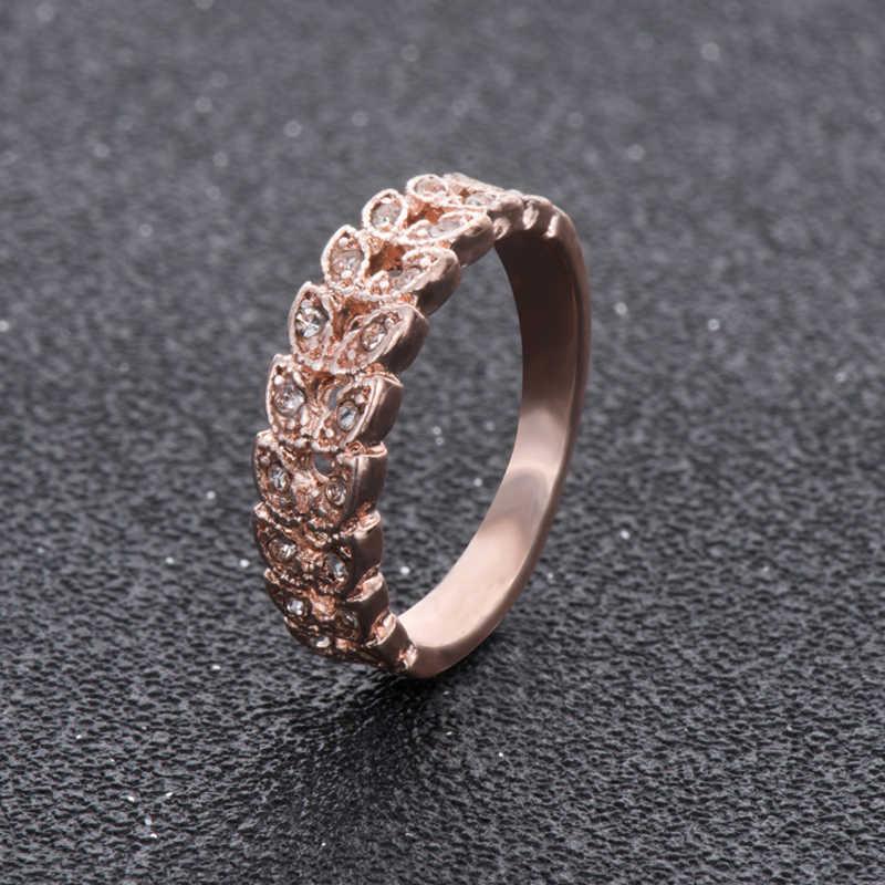 Top คุณภาพทองกระชับคลาสสิกคริสตัล CZ งานแต่งงานแหวน Rose Gold สีออสเตรียคริสตัลขายส่ง nj92