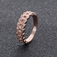 Wedding Ring Rose Gold Color Austrian Crystals