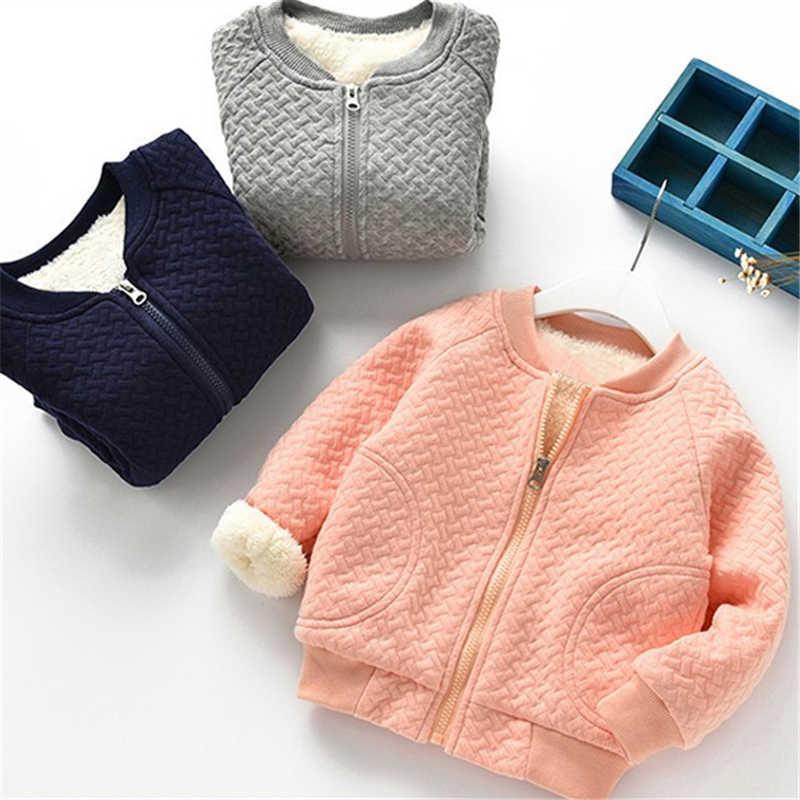Зимние теплые пальто для маленьких мальчиков и девочек, куртка для мальчиков и девочек, теплая бархатная утепленная одежда, детская верхняя одежда
