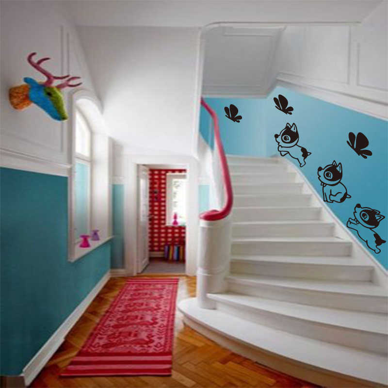 Filhote de cachorro do bebê borboleta escada decoração mural da parede do vinil decalque da parede artista de decoração para casa decoração da casa DW0723