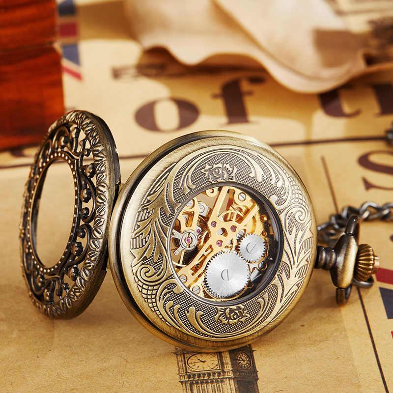 Montre de poche mécanique creuse rétro avec chaîne FOB étoiles en or squelette Steampunk Vintage hommes femmes montre de poche à remontage à la main