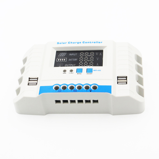 60A 50A 40A 30A 20A 10A 24V 12V Auto Solar Panel Battery Charge Controller PWM LCD Display Solar Collector Regulator USB two