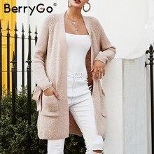a2b127dd50 BerryGo Casual gray pocket sweater cardigan Batwing sleeve side split  jumper 2018 Autumn winter women knitted long cardigan
