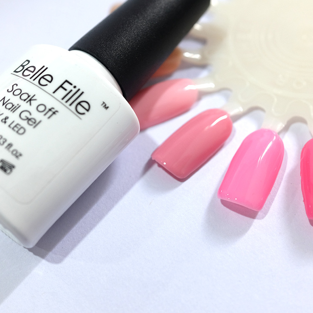 BELLE FILLE pink nail gel polish hot selling gels nail soak off uv ...