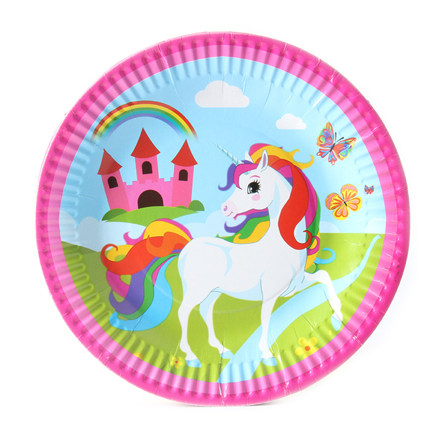 10pcs/lot Unicorn Cartoon Theme Kids Favor Boys Birthday Party Paper Plate 7inch Printing Round  sc 1 st  AliExpress.com & 10pcs/lot Unicorn Cartoon Theme Kids Favor Boys Birthday Party Paper ...