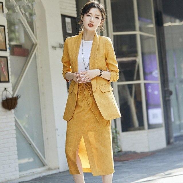 Mujer trabajo traje gris falda de la chaqueta para mujeres Oficina faldas traje de 2 piezas conjunto de dama de oficina chaqueta + falda de la longitud de la rodilla