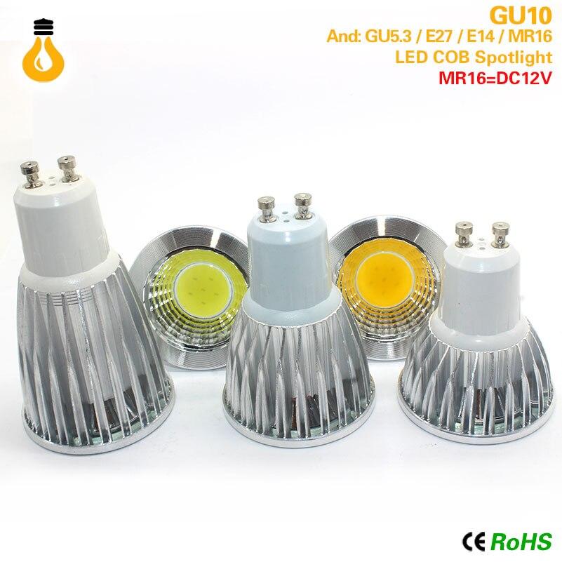 Bombilla de foco MR16 E27 E14 GU10 GU 5,3 COB regulierbar 7W 9W 12 W LED de alta potencia luz caliente/blanco LED lampara Downlight
