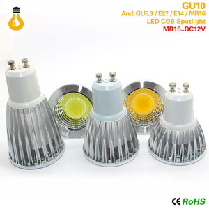 Bombilla de foco MR16 E27 E14 GU10 GU5.3 COB regulable 7W 9W 12 W LED de alta potencia luz caliente/blanco LED lampara Downlight