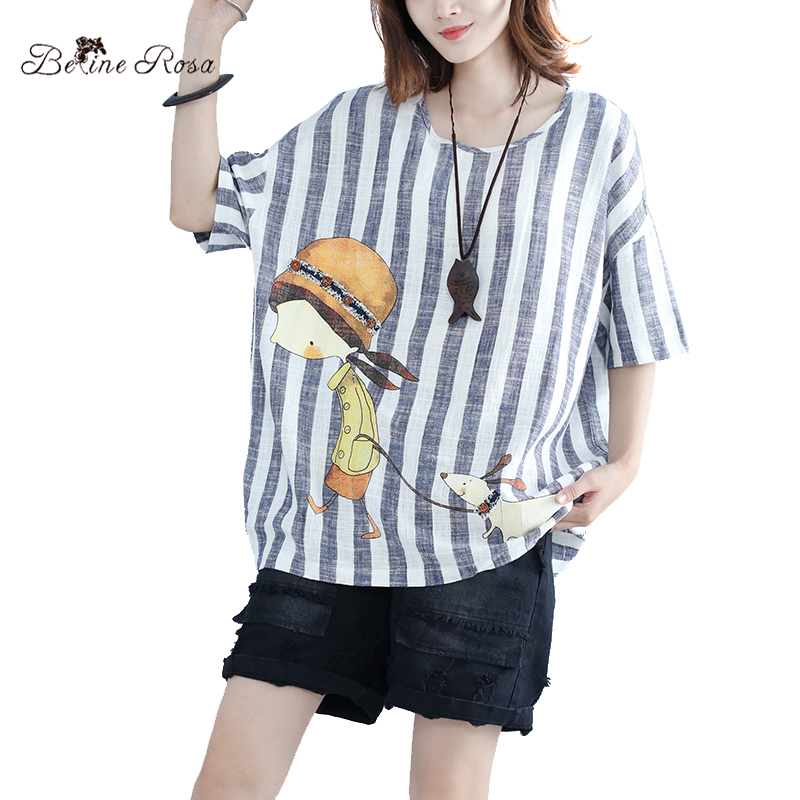 BelineRosa 2017 Top Female Summer Style Casual O Neck Striped Female Printing Short Sleeve T Shirt