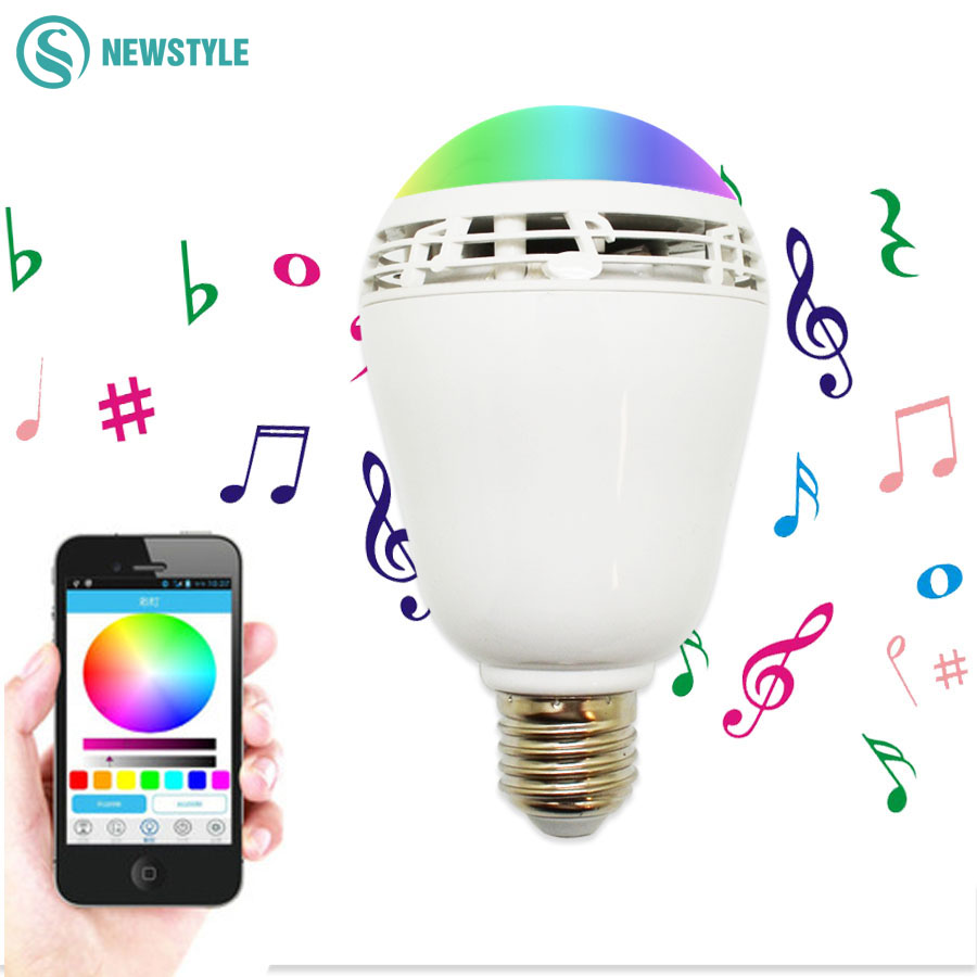 7W E27 RGB LED Bulb Bluetooth Music Bulb Light Smart Lighting Lamp Colorful Dimmable Speaker Lights Bulb With Remote Control lightme smart e27 6w rgb led bulb bluetooth smart remote control lighting lamp colorful dimmable speaker lights bulb new style