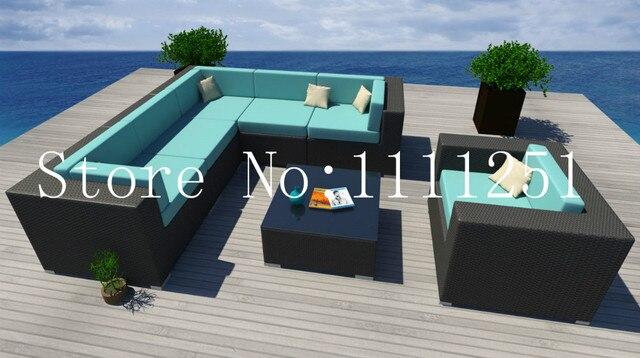2015 7 UNID Clima Patio Conjunto Moderno Sofá Seccional Al Aire Libre Muebles de Mimbre de la rota en Jardín Sofás de Muebles en AliExpress.com | ...