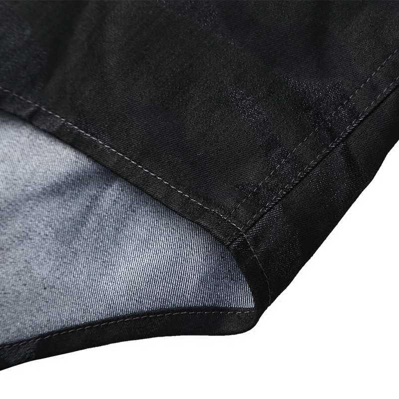 男性長袖プリント迷彩スリムトップ品質シャツメトロセクシャル男性 new 到着ヨーロッパスタイルデニムカジュアルシャツ S2307
