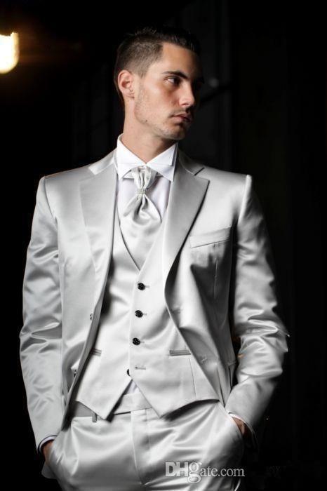 2017 Latest Coat Pant Designs Italian Sliver Grey Satin Men Suits Slim Fit Tuxedo 3 Piece Custom Groom Prom Suit Terno Masculino