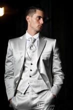 2017 Latest Coat Pant Designs Italian Sliver Grey Satin Men Suits Slim Fit Tuxedo 3 Piece Custom Groom Prom Suit Terno Masculino