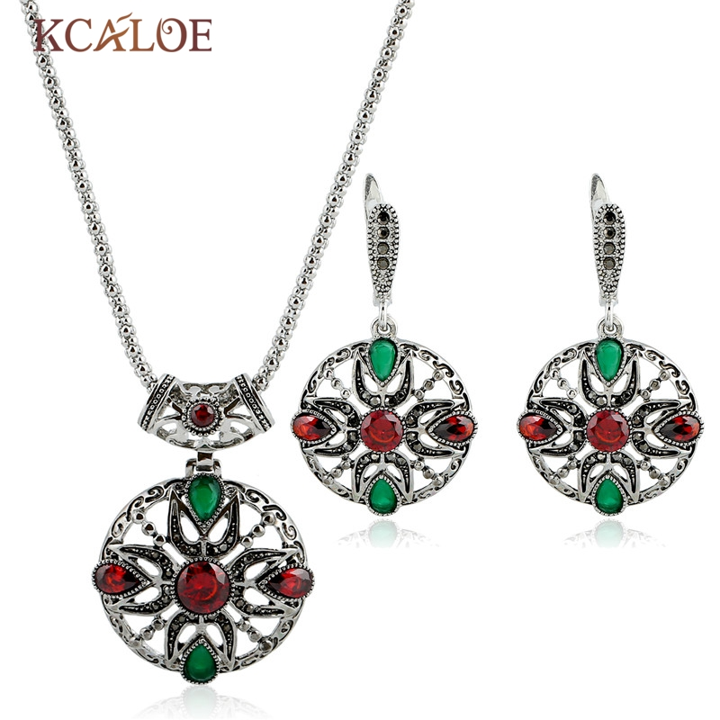 KCALOE Antique Silver Color Turkish Jewellery Set Red/Green Crystal Rhinestone Pendant Necklace Earrings Ethnic Vintage Sets