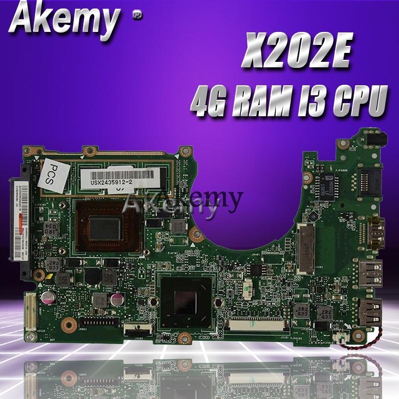 Akemy X202E Laptop motherboard for ASUS X202E X201E S200E X201EP Test original mainboard 4G RAM I3