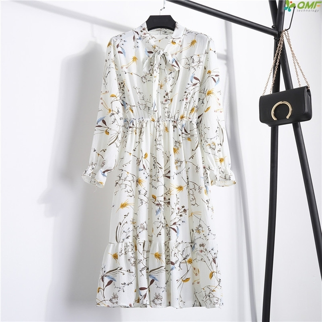 6d6d3c173da Mori Girl White Summer Dress Literary Floral Chiffon Dress New Fashion  Korean Beach Dress Elastic Waist Casual Vestido De Festa