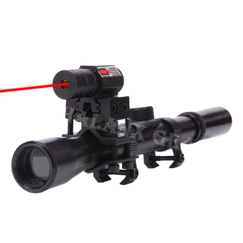Caza táctico punto rojo laesr 4x20 pistola de aire Rifle óptica alcance Caza táctico rifloscopio + carril de 20mm soportes + punto rojo vista láser