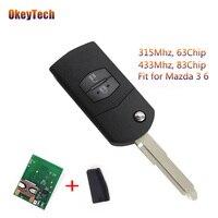 OkeyTech Remote Key For Mazda 3 6 2 Buttons Flip Folding Uncut Blade Auto Car Key