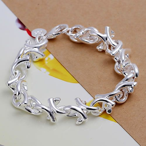 Wholesale High Quality Jewelry 925 jewelry silver plated fashion Bracelets for Women best gift SMTH042 fashion Leaf Bracelet