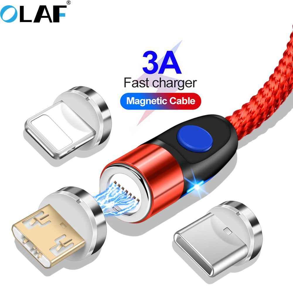 Магнитный кабель Олаф 1 м 2 м 3 А, кабель для быстрой зарядки micro usb type c для быстрой зарядки iPhone 3,0, магнитный кабель USB c type-C