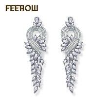 FEEROW Magnífico Diseño Marquise Forma Oro Blanco Plateado AAA + Zircon Cluster Mujeres Pendientes Largos Pendientes de Gota de Novia FWEP344