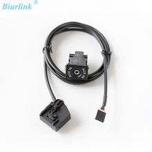 Biurlink AUX Switch Button AUX-IN Audio Adapter Cable For Skoda VW Touareg Passat Golf V MF