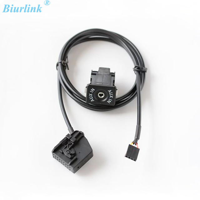 Car Aux Input Adapter Switch And Cable Wrie For Volkswagen: Biurlink AUX Switch Button AUX IN Audio Adapter Cable For