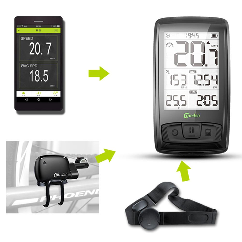 2.5 Inch Wireless Bike Computer USB Rechargeable Bike Cycling Computer with Cadence Sensor Bicycle Speedometer Odometer