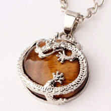 100-Unique Silver Plated Natural Tiger Eye Stone Half Round Bead with Chinese Style Dragon Pendant For Men Jewelry