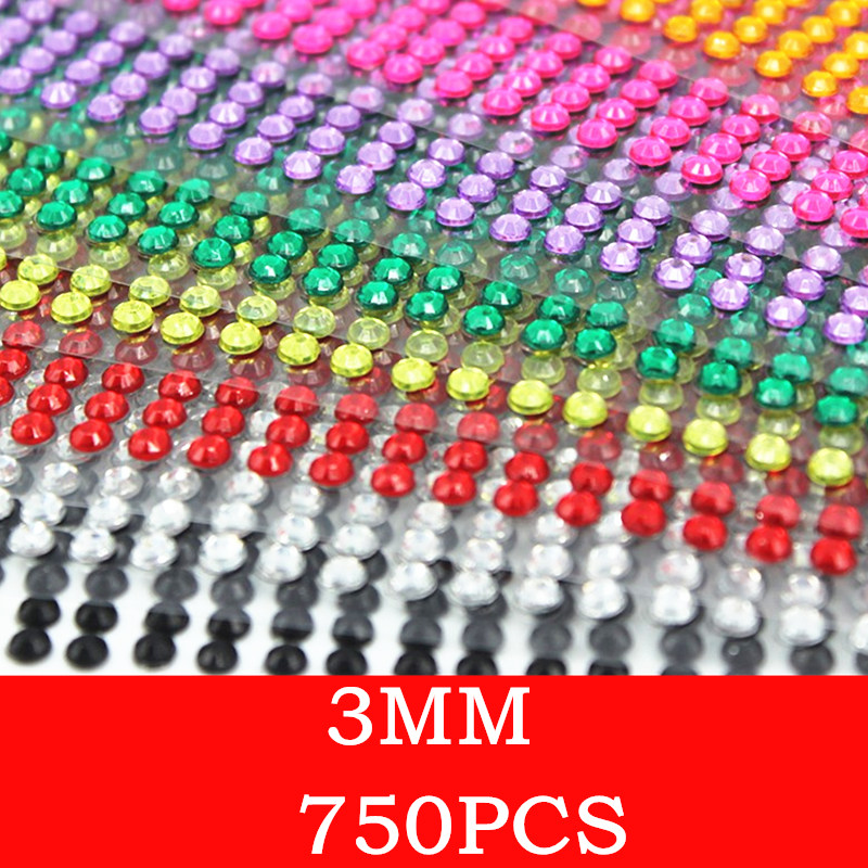 750pcs /set Beauty 3mm Crystals Rhinestones Car Decor Decal Styling Accessories Mobile/pc Art Diamond Self Adhesive Stickers crystals rhinestones car decor decal styling accessories mobile art diamond self adhesive sticker flat acrylic drilling stickers