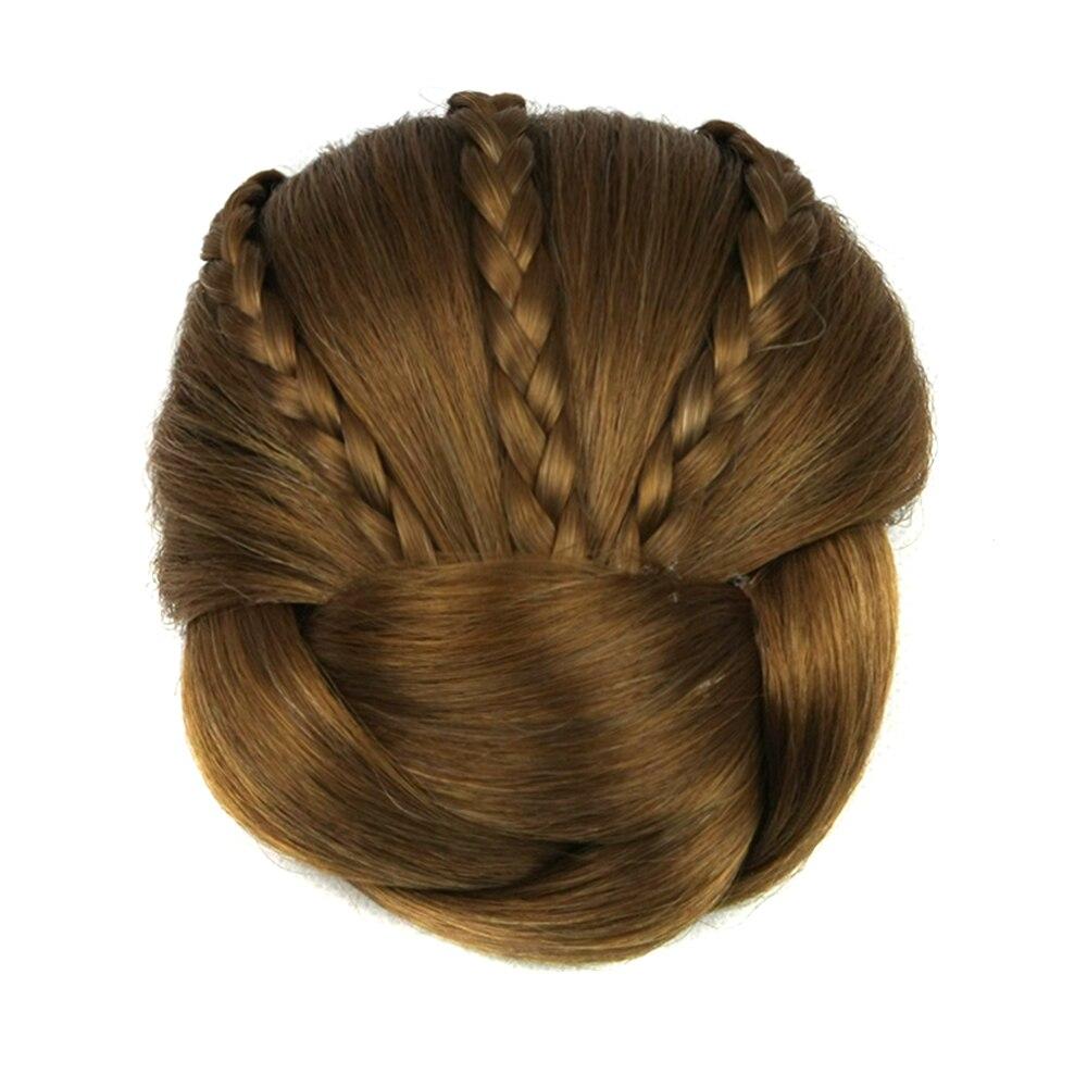 Soowee 6 Colors Synthetic Hair Piece Braided Chignon Clip In Hair Bun High Temperature Fiber Hair