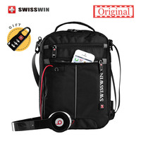 Swisswin Shoulder Bag Small Messenger Bag For Tablets Men S Black Handbag 11 Inch Crossbody Bags