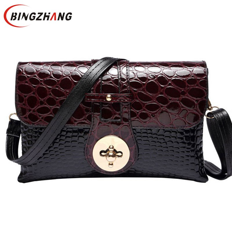 f05d24f4750c ... New 2018 Patent Leather Crocodile Women Messenger Bags Ladies Crossbody  Shoulder Bags For Women Casual Bag ...