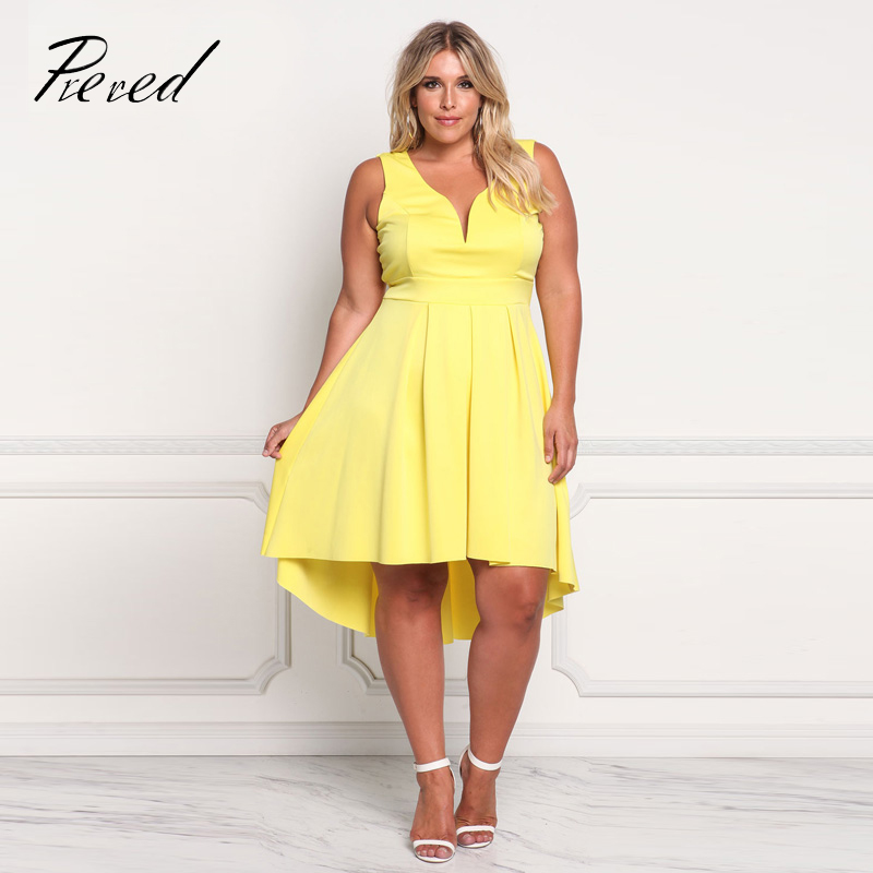 Prered 2018 Summer Women Dress Plus Size Solid Sleeveless V-neck Vestido Plus Size Sexy Club Party Dresses XXXL Free Shipping 1