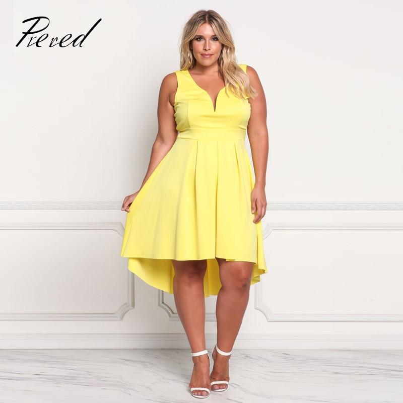 Prered 2018 Summer Women Dress Plus Size Solid Sleeveless V-neck Vestido Plus Size Sexy Club Party Dresses XXXL Free Shipping 1